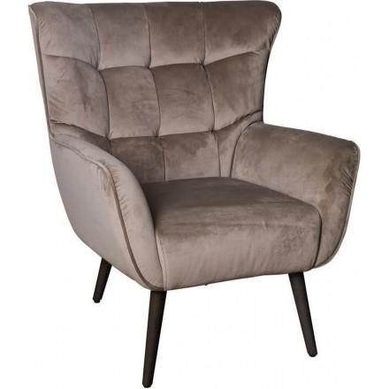 Luxe Fauteuil - Stoel - Design - Chair - Sfeervol - Sfeer - Comfort - Comfortabel - Industrieel - Luxe - Comfortabele stoel - Fluweel - Beige - 83 cm breed
