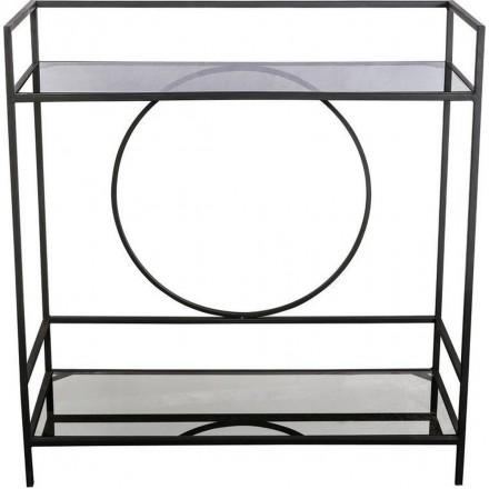 Industriële Kast van Metaal - Dressoir - Kast - Sidetable - Wandkast - Muurkast - Industrieel - Glas - Zwart - 80 cm breed