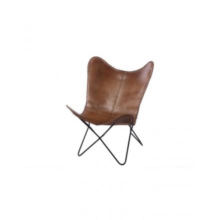 Vlinderstoel echt leer