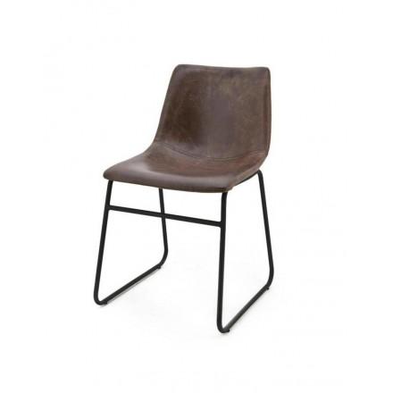 Design stoel leatherlook bruin